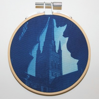 Cyanotype of Norwich Cathedral, in an Embroidery Hoop Frame. 10cm diameter