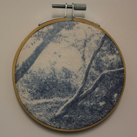 Cyanotype of Woodland in Norfolk, in an Embroidery Hoop Frame. 10cm diameter
