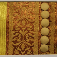 "Rouleau Loops with Buttons on Silk. Mounted and framed 9""x7"""