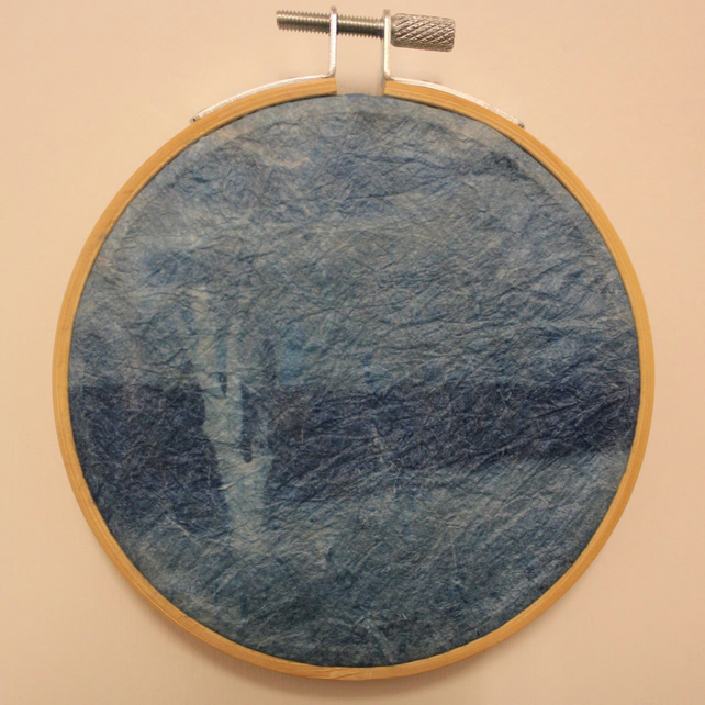 Cyanotype of Covehithe, in an Embroidery Hoop Frame. 10cm diameter. Silk Paper