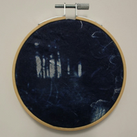 Cyanotype of a Woodland, in an Embroidery Hoop Frame. 10cm diameter