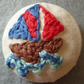 Hand embroidered sailing boat button