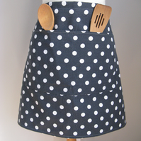 Charcoal Grey Polka Dot Half Apron