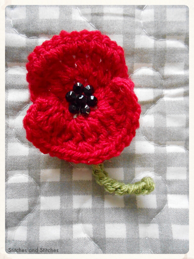 Crochet Remembrance Poppy Brooch Jewelled Cent Folksy