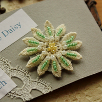 Green beaded lace flower brooch
