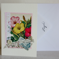 Greeting card -handmade vintage floral collage