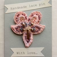 Pink lace brooch