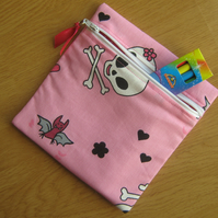 Girly Cute Pink Skulls Small Lined Crayon or Pencil Case Make Up Case