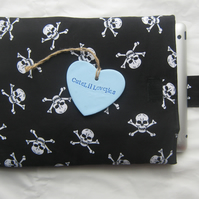 Black and White Skulls Ipad or Large Tablet Padded Cover or Sleeve