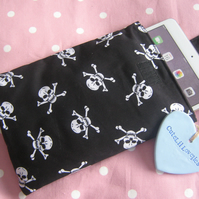 Black and White Skulls Mini Ipad or Small Tablet Padded Cover or Sleeve