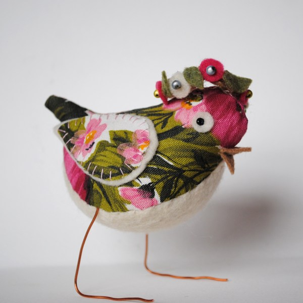 Springtime fabric bird with halo garland!