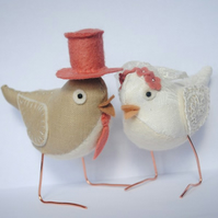 Made to order Fabric Bird or Birds! Wedding, cake toppers, new baby, b'day...