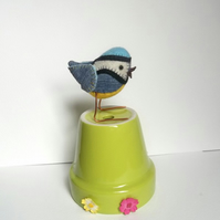 Blue-Tit - recycled denim and felt fabric bird