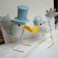 RESERVED custom order for GingerBeer - Bespoke seagull wedding bird cake toppers