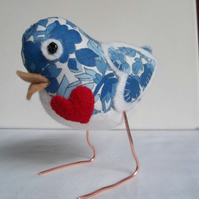 RESERVED for Crinhunt - custom fabric love bird with heart!