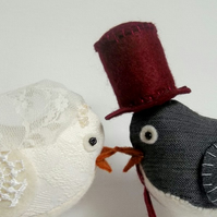 RESERVED for NicciClarke - made to order fabric wedding cake toppper birds