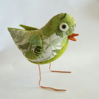 Greenfinch -vintage  fabric freestanding bird!
