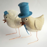 Fabric Bird Wedding Cake Toppers - ready to buy!  Cornflower blue details.