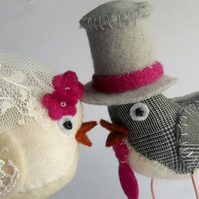Ready Made - Fabric Birds Wedding Cake Toppers! Fuschia, magenta pink detail.