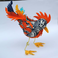 Cockerel. Free-standing, fabric, textile  art bird.