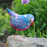 Free standing floral fabric bird! Pink and Grey Blue Hues