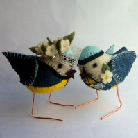 RESERVED for Ewake - custom blue-tit birds wedding cake toppers