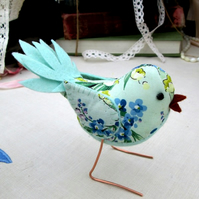 Pretty floral fabric bird - free-standing!