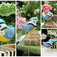 Custom Blue-Tit Birds Country Rustic Woodland Wedding Cake Toppers