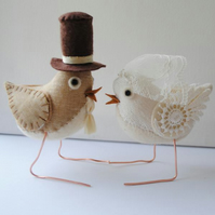 Reserved for Chellefee - custom fabric wedding bird cake toppers birds