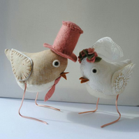Reserved order for Charlieandthebeauty -  fabric bird birds wedding cake toppers