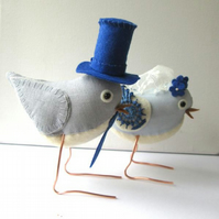 RESERVED for ForestKitten - custom made fabric wedding bird cake toppers