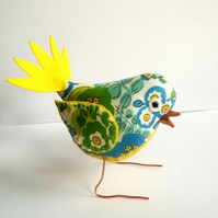 Bright Fabric Bird - Turquoise and Yellow