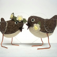 RESERVED for Pinkbee - custom made wren birds wedding cake toppers