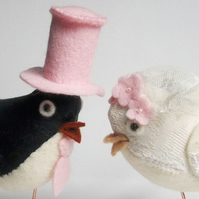 RESERVED for Suzannahellis -  custom fabric wedding birds cake toppers