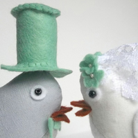 RESERVED for Hayley78 - custom fabric wedding birds cake toppers - mint accents