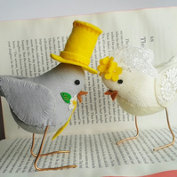 Textile Bird Wedding Cake Toppers