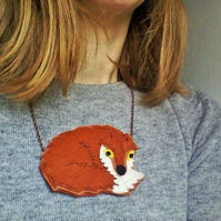 Felt Fox Necklace Pendant