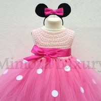 Minnie mouse dress, minnie mouse birthday dress, Flower girl dress pink tutu