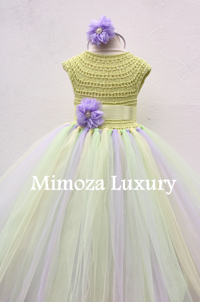 ON SALE, Green Lavender Birthday dress tutu dress, flower girl princess dress