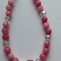 Pink Jade and Crystal Bracelet.