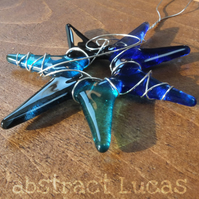 Sea Star :: 9cm Fused Glass Wire Wrapped Lightcatcher :: Free UK Postage