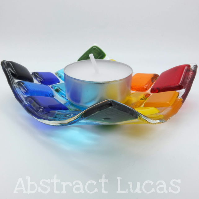 Rainbow Squared Tealight Holder :: 8cm Fused Glass Dish