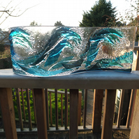 Waves :: 45x15cm Freestanding Fused Glass Art Sea Waves :: Free UK Postage
