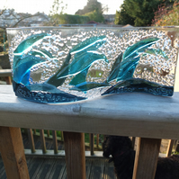 Waves :: 26x12cm Freestanding Fused Glass Art Sea Waves :: Free UK Postage