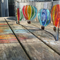 Bristol Balloons : 45 x 12cm Freestanding Fused Glass Art