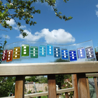 Bristol Houses - 42x10cm Freestanding Fused Glass Art (free UK delivery)