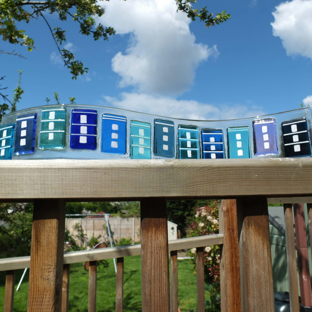 Bristol Houses - 42x9cm Freestanding Fused Glass Art (free UK delivery)
