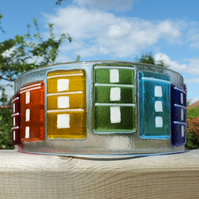 Bristol Houses - 18 x9cm Freestanding Fused Glass Art :: Free UK delivery