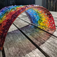 Freestanding Textured Fused Glass Rainbow
