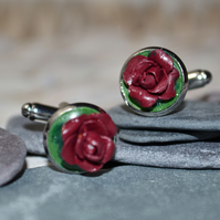 Handmade Deliciously Dark Rose Cufflinks